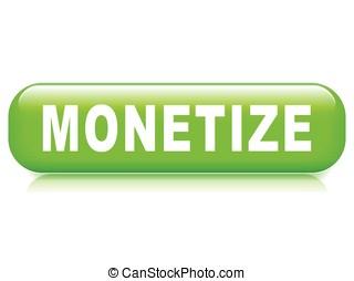 monetize, bouton, fond blanc