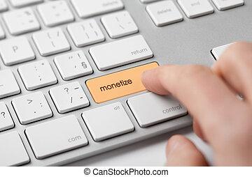 Monetize on-line internet project concept. Freelancer...