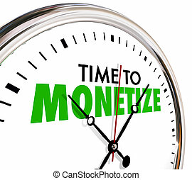 monetize, verdienen, inkomsten, geld, klok, illustratie, tijd, model, 3d