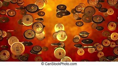 monety, chińczyk, złoty, 4k, pętla, przedstawienie, nowy, seamless, tło, rok, texture., 3d