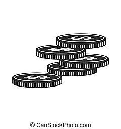 monety, czarnoskóry, ikona