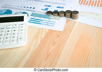 monety, kalkulator, pojęcie, handlowy