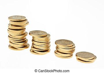 monety, pieniądz, stóg, euro