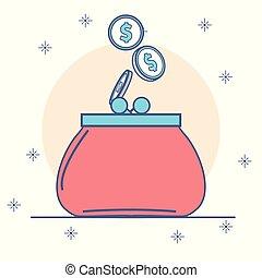 monety, portmonetka