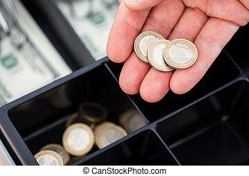 monety, ręka, euro