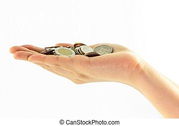 monety, ręka, izolować