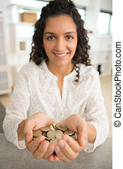 monety, ręka, kobieta