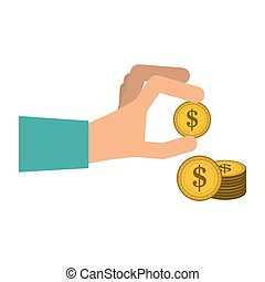 monety, ręka