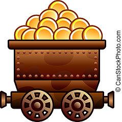monety, stary, kopalnia, wóz
