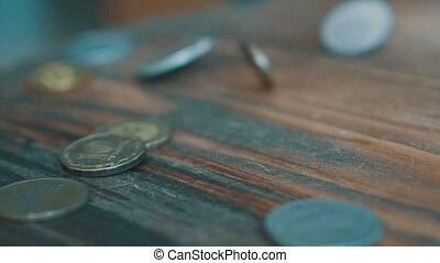 monety, wpaść, powolny, motion., wysoki, jakość, dolar, monety, spadanie