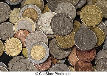 monety, z, różny, countries., ładny, pieniądze, tło.