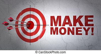 money!, ターゲット, ビジネス, 壁, 作りなさい, 背景, concept: