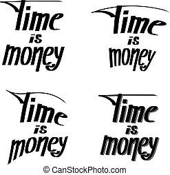 """money"""", 発言, -, イラスト, 手, """"time, バックグラウンド。, ベクトル, 白, lettering."""