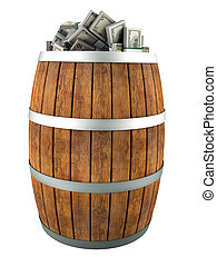 money 3d - A lot of dollars in a wooden barrel. Isolated on...