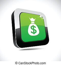 Money 3d square button.