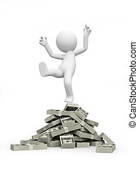 money - A 3d person standing on piles of dollars