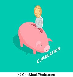 Money Accumulation Isometric Vector with Piggybank