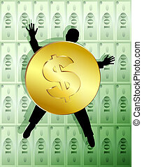 Money allegory: man pinned to the wall by coin. Digital illustration. Contains clipping path.