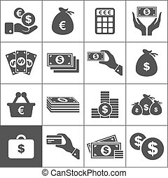 Set of icons of money. A vector illustration