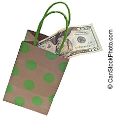 Money and a Gift Bag Symbolize a Gift Giving Budget Concept. Isolated on White with a Clipping Path.