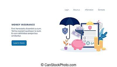 Money and bank account insurance web banner flat cartoon ...