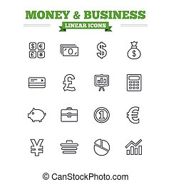 Money and business linear icons set. Thin outline signs. Vector