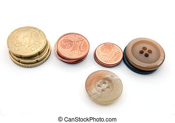 Money and Buttons isolated on white background. Geld und...