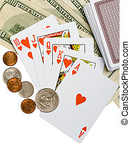 Money and Cards on white background
