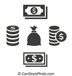 Money and coins icons on white background.