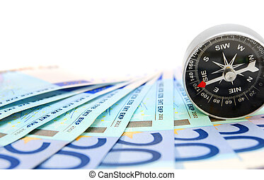 Money and compass. On a white background.