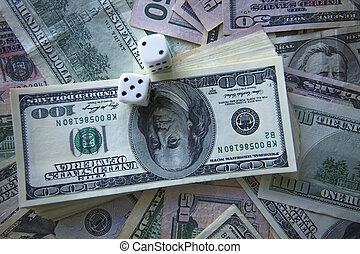 Money and dice for gambling