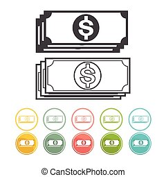 Money and Dollar icon set Vector black Yellow pink green blue red