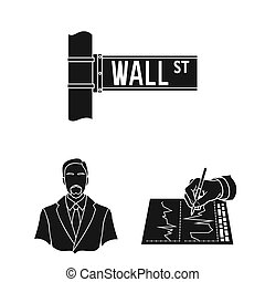 Money and Finance black icons in set collection for design. Business and Success bitmap symbol stock web illustration.