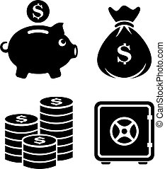 Money and finance vector icon set