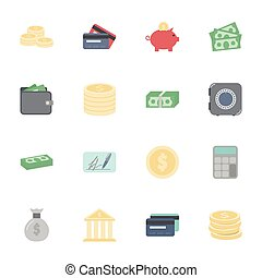 Money and financial flat icons set