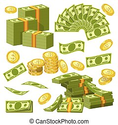 Money and golden coins bank dollars and cents piles and heaps vector icons