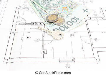 Key and money on blueprint key and euro money on architectural money and key lying on the housing plan malvernweather Images