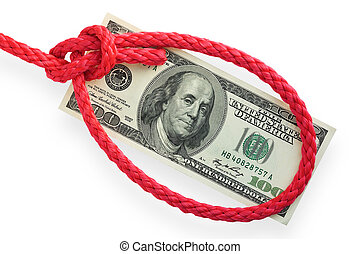 Money and knot 03 - The red cord with bowline knot (loop) on...