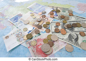 money and map of the world