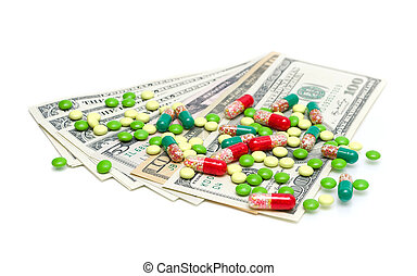 Money and medical drugs on white background
