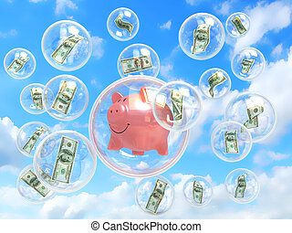 money and money piggy in soap bubbles concept of risky financial investments