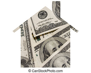 Money and mortgage - The shape of home in the pile of money