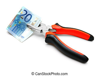 Money and nippers. On a white background.