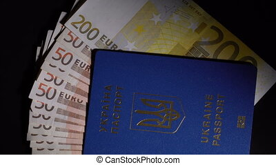 Money and passport on the table - Euro banknote in the...