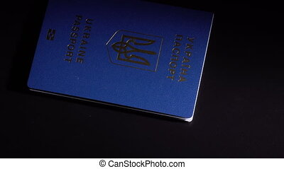 Money and passport on the table - Denominations dollars in...