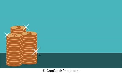 Money and savings HD animation - Coins stacked over blue...