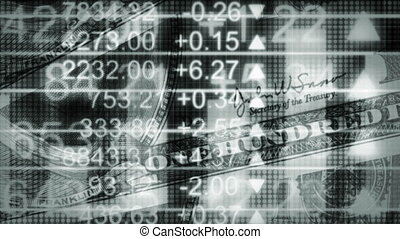 Money and stock in pale blue gray looping CG animated looping background