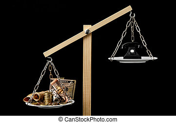 Money and Telephone on a Two Pan Balance