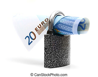 Money and the lock. On a white background.