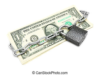 Money and the lock with a chain.